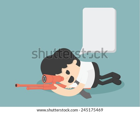 Businessman Sniper VECTOR, EPS10 - stock vector