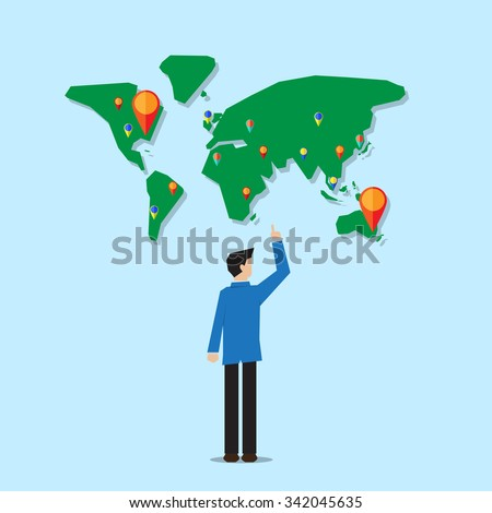 businessman stand in front of of world map with navigator pin point to the target - stock vector