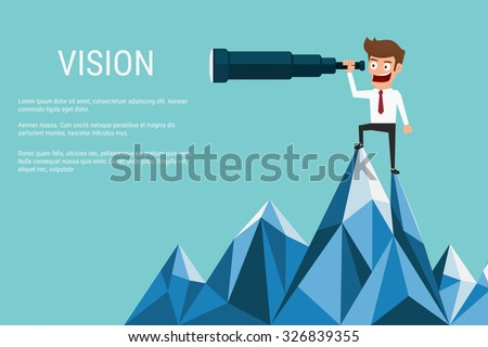 Businessman stand on top of mountain using telescope looking for success, opportunities, future business trends. Vision concept. Cartoon Vector Illustration. - stock vector
