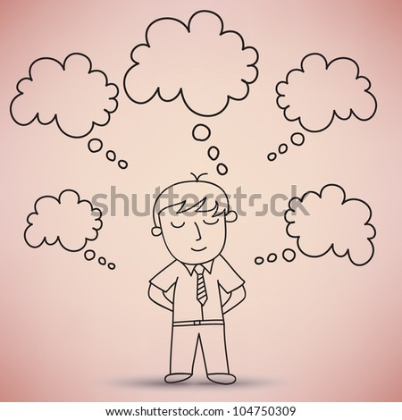 Businessman Standing and dreaming Vector - stock vector