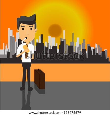 Businessman standing  drinking water  In the city the hot weather. Concepts to reduce global warming - stock vector