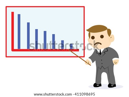 Businessman standing in front of a declining chart over.