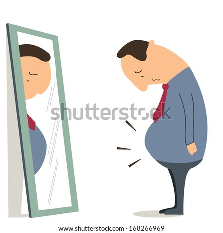 Businessman standing in front of mirror and see himself getting big belly. Oversized and obesity concept.  - stock vector