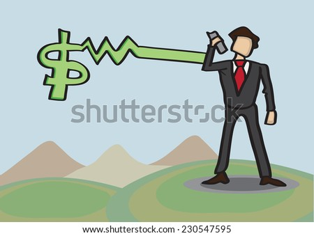 Businessman standing in golf course receives money news over mobile phone. Conceptual business vector illustration. - stock vector