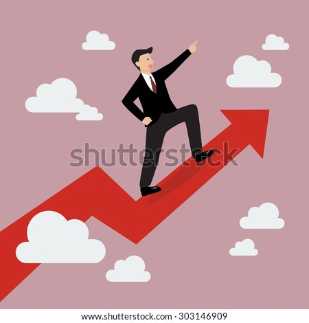 Businessman standing on a growing graph. Business Growth Concept - stock vector