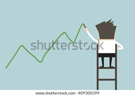 Businessman standing on ladder drawing growth chart on wall vector