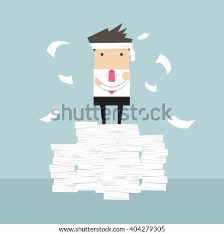 Businessman standing on paperwork vector - stock vector