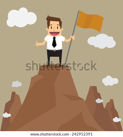 Businessman standing on the top of a high mountain. Business success concept.vector - stock vector