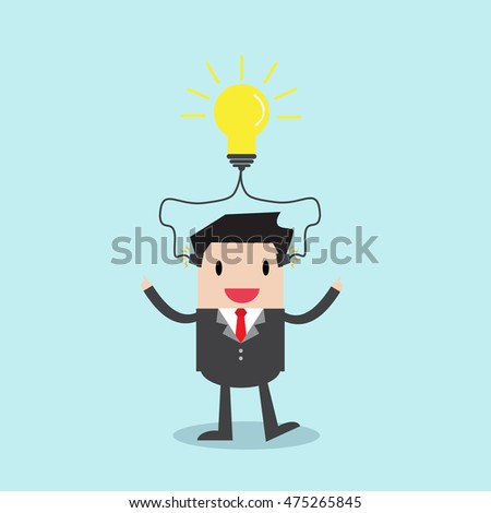 Businessman standing with charging light bulb for thinking a new idea. vector illustration