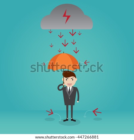 Businessman standing with umbrella in down arrow rain. cartoon character business concept