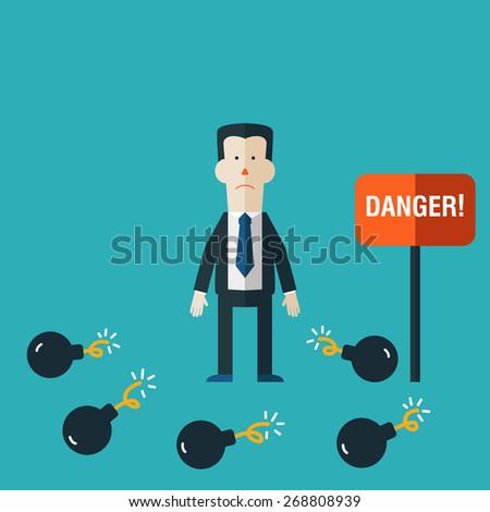 Businessman standings between bombs. Businessman in risk concept - stock vector