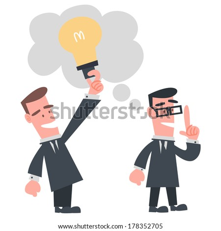 Businessman Stealing Idea from the Other - stock vector