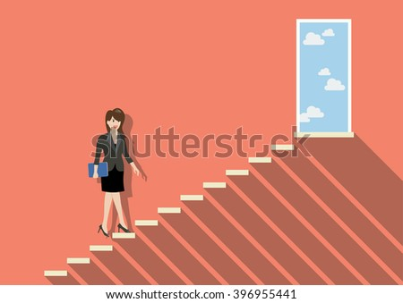 Businessman stepping up a staircase to success. Business Concept