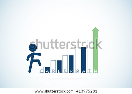 businessman stepping up a staircase with career path text, career and business concept