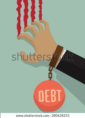 Businessman stressed with large debt. Using his hand Scrabble the wall was bleeding. Debt burden bring him down. Business concept on debt. - stock vector