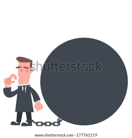 Businessman Stuck with Metal Ball - stock vector