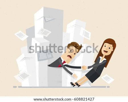 Businessman stucks piles papers woman drags stock vector 608821427 businessman stucks piles papers woman drags stock vector 608821427 shutterstock publicscrutiny Images