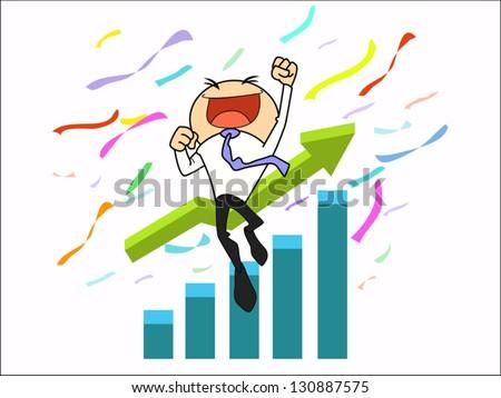 businessman succeed in higher goal - stock vector