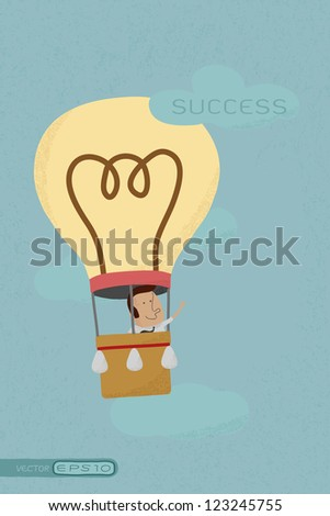 Businessman success from his own balloon idea , eps10 vector format - stock vector