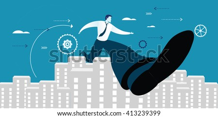 Businessman successful in overcoming obstacle - stock vector