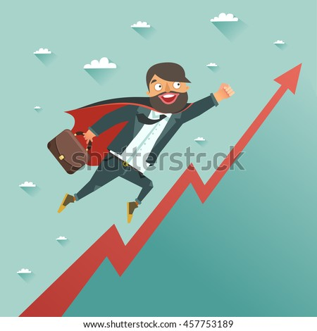 Businessman superhero flying to achieve his goal. Leadership concept. Colorful vector illustration in flat style
