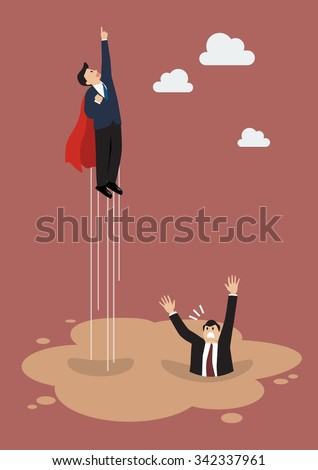 Businessman superhero gets away from puddle of quicksand. Business concept - stock vector