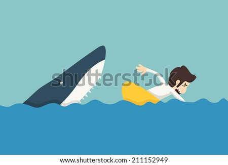 Businessman swimming to escape sharks , eps10 vector format - stock vector