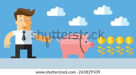 Businessman take for a walk piggy bank. Business flat vector illustration. - stock vector
