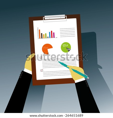 Businessman takes notes on clipboard with copyspace isolated on white background - stock vector