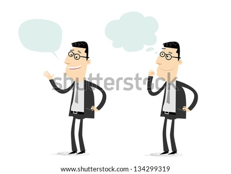 Businessman talking and wondering - stock vector