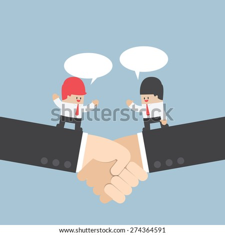 Businessman talking with partnership on a handshake, VECTOR, EPS10 - stock vector