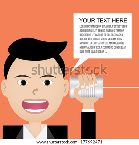 businessman talking with tin can telephone  - stock vector