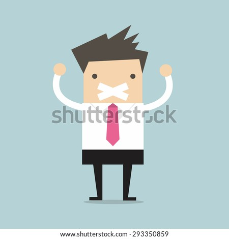 Businessman tape on his mouth - stock vector