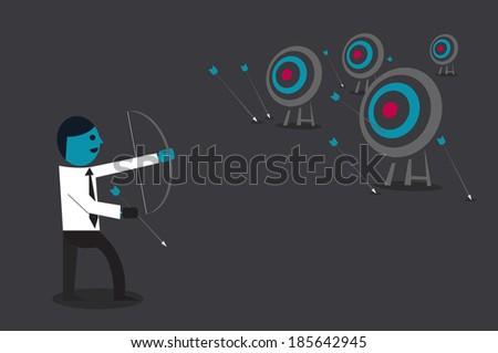 Businessman target goal concept cartoon illustration. - stock vector
