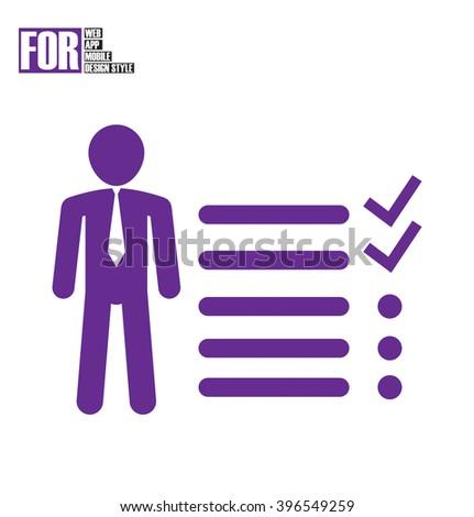 Businessman tasks items list icon - stock vector
