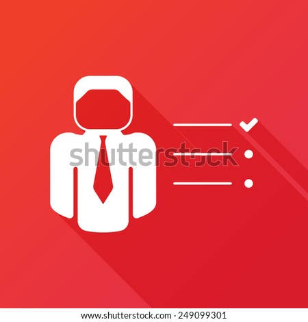 Businessman tasks items list icon. Checking mark checklist marker Isolated on red background - stock vector