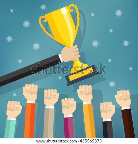 Businessman teams holding a champion gold trophy. Vector illustration in flat style.