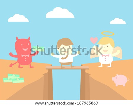 businessman, the angel and the devil - stock vector