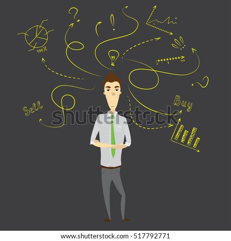 Businessman  thinking and standing against doodle business sketch, stock vector illustration