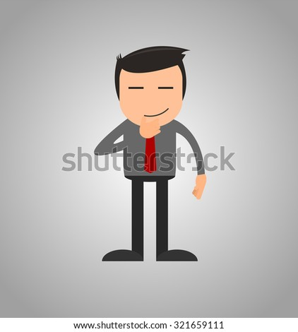 Businessman thinking and try to concentrate and get some new ideas - stock vector