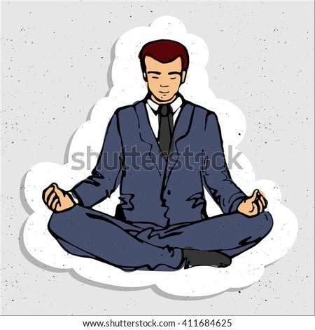 Businessman thinking during meditation, cartoon vector illustration, business man meditating - stock vector