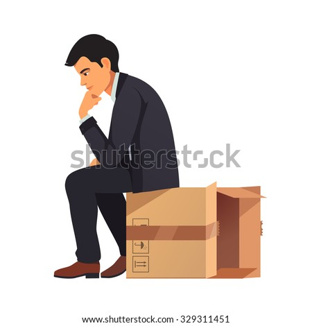 Businessman thinking outside the box concept. Man in business suit sitting on empty cardboard packing and solving problem in his mind. Flat style vector illustration isolated on white background.