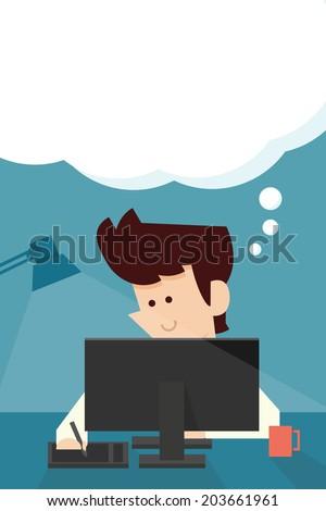 businessman thinking something flat design - stock vector
