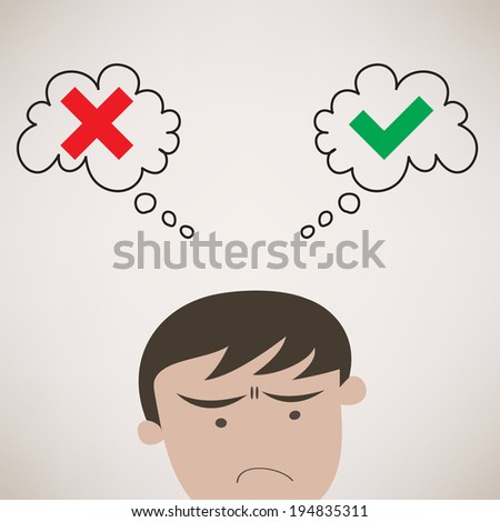 Businessman Thinking True or False Symbols Vector - stock vector