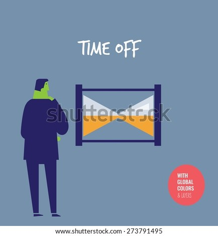 Businessman thinks and clock is stopped. Vector illustration Eps10 file. Global colors&layers. - stock vector