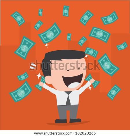 businessman throwing bank notes - stock vector