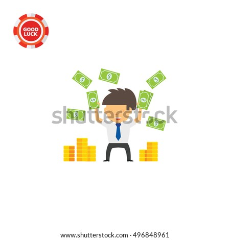 Businessman Throwing Money Up Icon