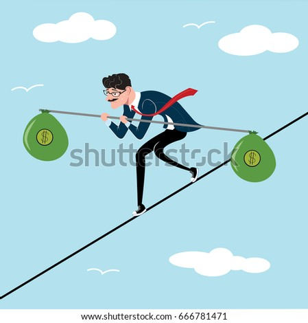 Businessman tightrope walker with bag of money as a symbol of business risk and courage, brave step. Blue sky background. Unstable business. Office worker walking on line.