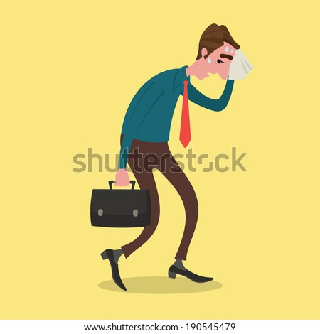Businessman tired wiping sweat with a handkerchief. - stock vector