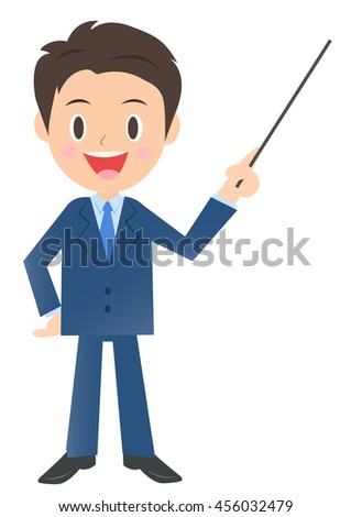 Businessman to explain with a pointing stick